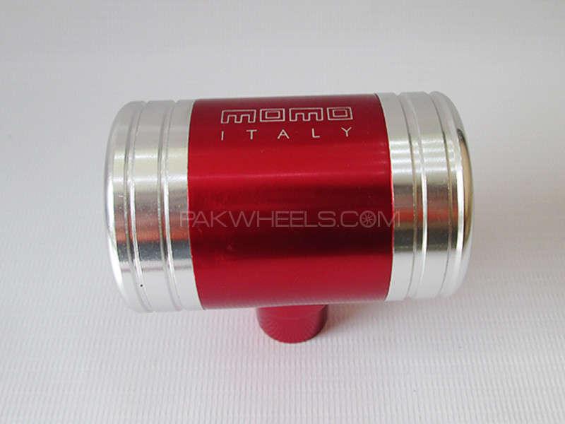 Gear Knob - MOMO Red & Silver Image-1
