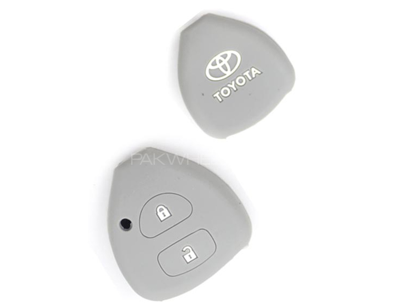 Silicon Key Cover For Toyota Corolla 2014 - Grey in Karachi
