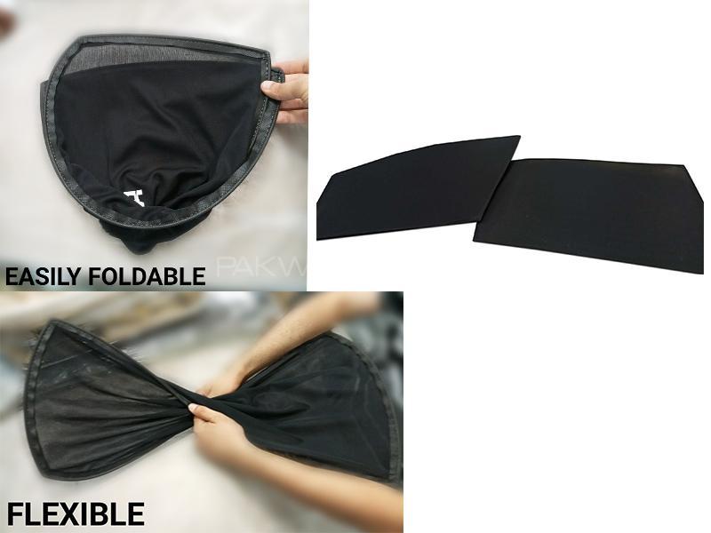 Foldable & Flexible Sun Shades For Hyundai Santro Executive  - Dark Black Image-1