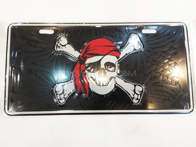 Fancy Embossed License Plate - Skull Image-1