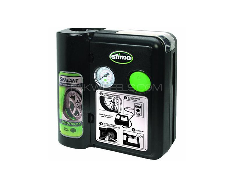 Slime Safety Spair Emergency Flat Tire Repair Air Compressor With Sealant Image-1