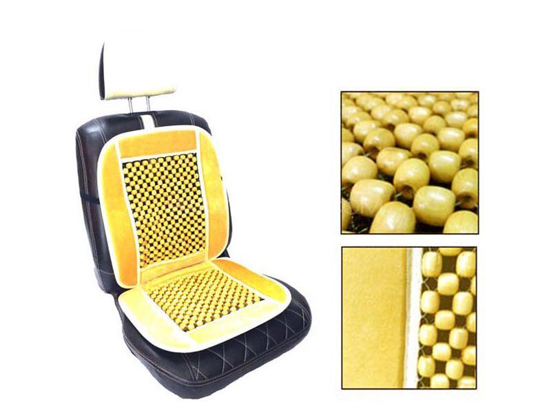 Car Moti Wooden Beads Seat - Beige Image-1