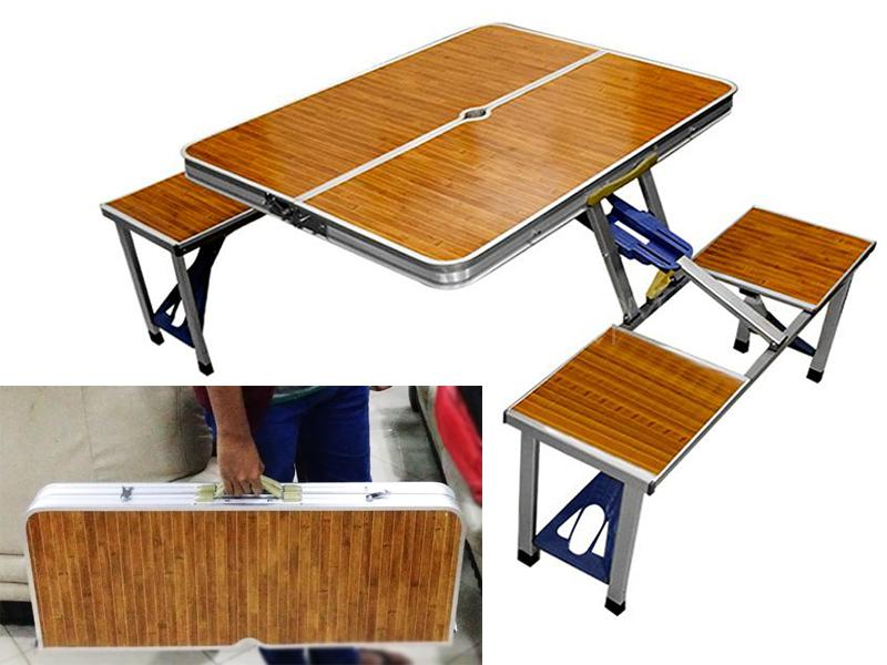 Portable Travel Picnic Table & Chairs - Wooden Style Image-1