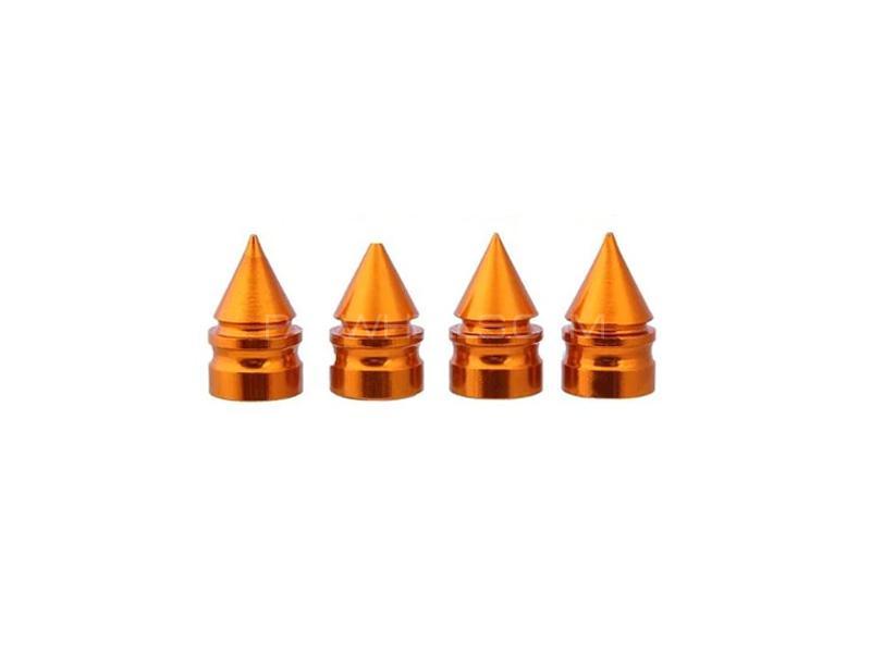 Cone Shape Tire Nozzle Cap Golden Image-1