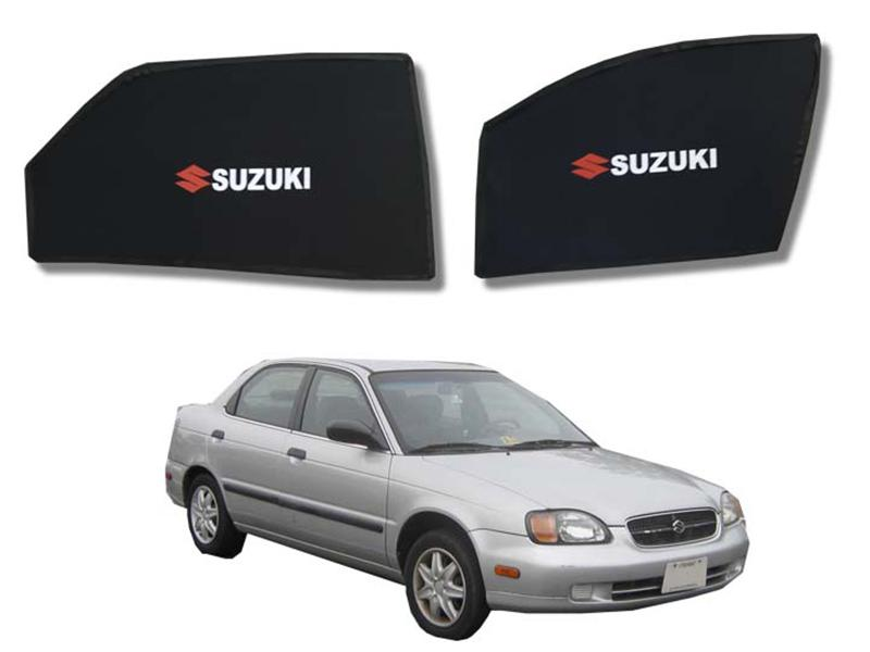 Foldable & Flexible Fix Shades With Logo For Suzuki Baleno 1998-2005 - 4 Pcs in Karachi