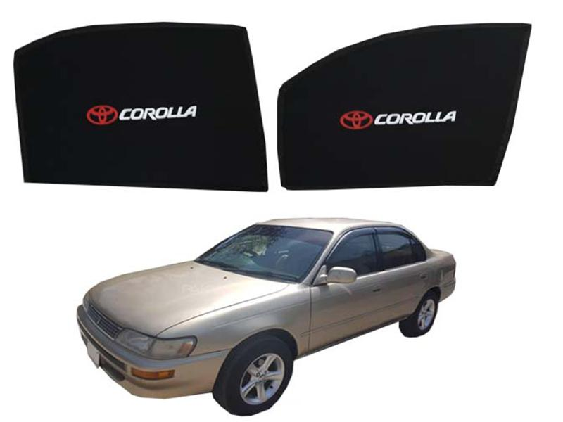 Foldable & Flexible Fix Shades With Logo For Toyota Corolla 1996-2002 - 4 Pcs Image-1