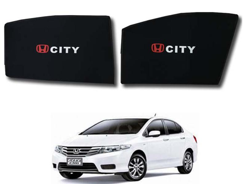 Foldable & Flexible Fix Shades With Logo For Honda City 2009-2019 - 4 Pcs in Karachi