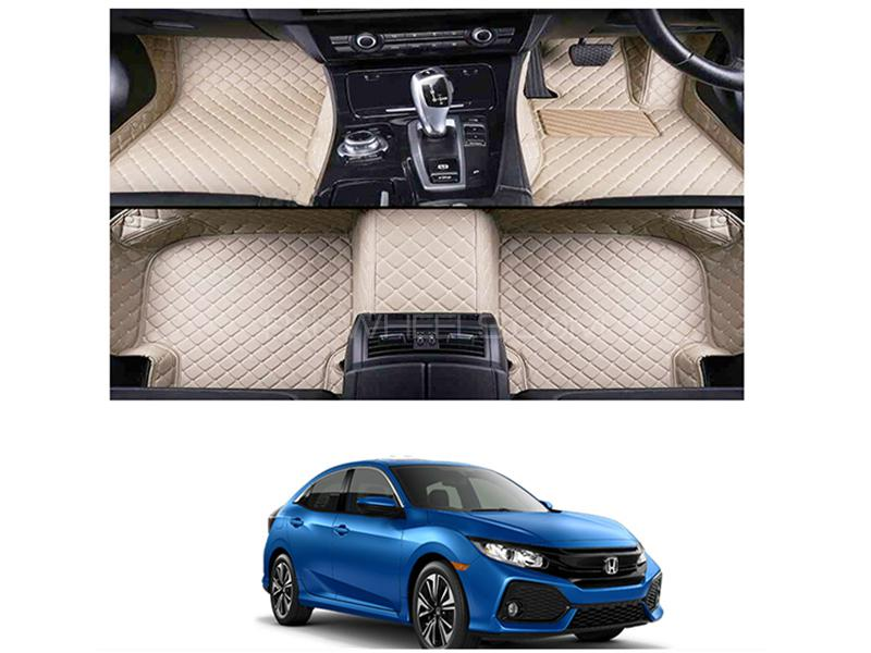 7D Floor Mat For Honda Civic 2017-2019 - Beige Image-1