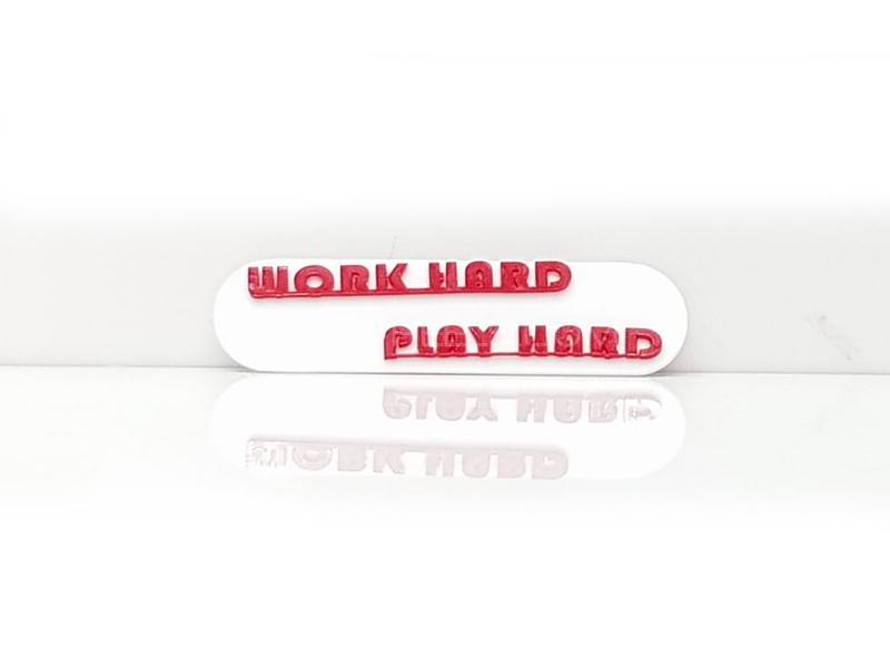 Play Hard Plastic Pvc Emblem Image-1