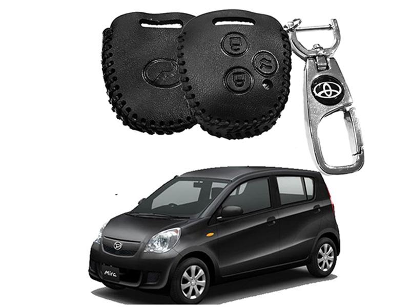 Leather Key Cover With Metal Chrome Keychain For Daihatsu Mira  Image-1
