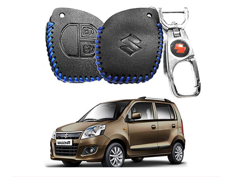 Leather Key Cover With Metal Chrome Keychain For Suzuki Wagon R - Blue in Karachi