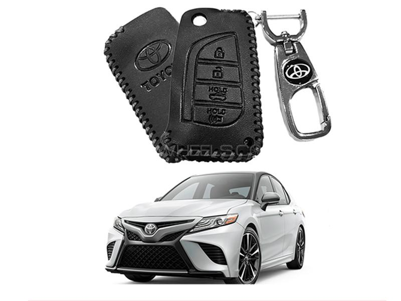 Leather Key Cover With Metal Chrome Keychain For Toyota Camry - Black in Karachi