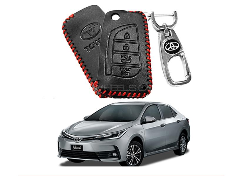 Leather Key Cover With Metal Chrome Keychain For Toyota Corolla 2017-2019 - Red in Karachi