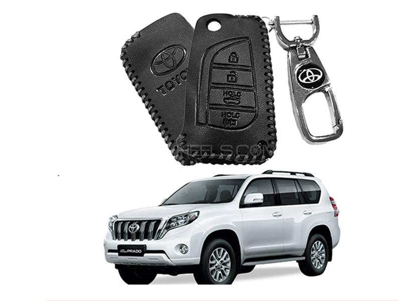 Leather Key Cover With Metal Chrome Keychain For Toyota Prado - Black  in Karachi