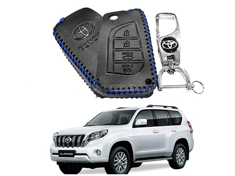Leather Key Cover With Metal Chrome Keychain For Toyota Prado - Blue in Karachi