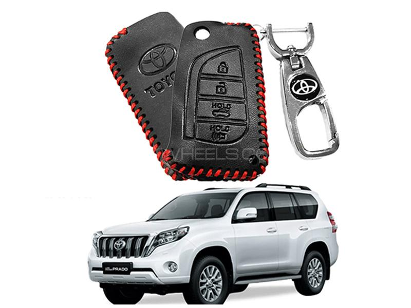 Leather Key Cover With Metal Chrome Keychain For Toyota Prado - Red Image-1