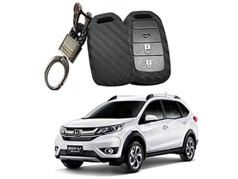 Carbon Fiber Style Key Cover With Rob Keychain For Honda BR-V 2017-2019 in Karachi