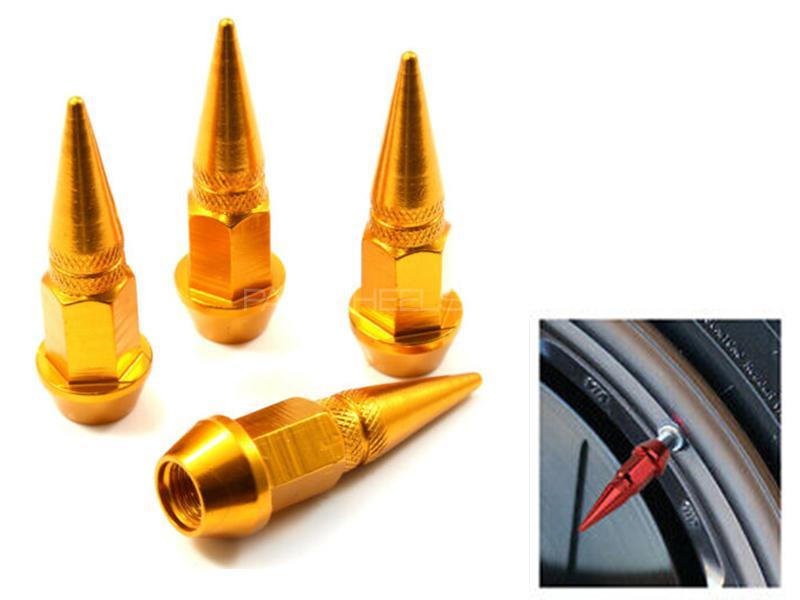 Universal Spike Style Aluminium Tire Valve Cap Cover - Golden Image-1