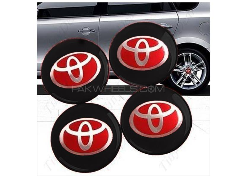 Toyota Red Alloy Wheel Caps Abs Plastic 4pcs Image-1