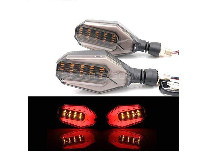 Universal Bike Indicators With Lava Drl Smd Audi Style Red Yellow 2pcs Image-1