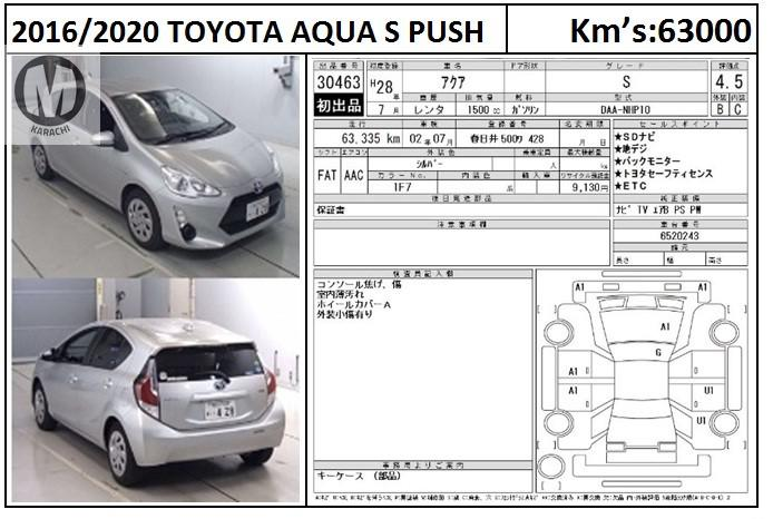 """As our nation is depressed and affected with CORONA , We are announcing CARLONA offer to chear you up. """" FREE REGISTRATION for Vehicles upto 1500cc"""" KNOCKDOWN this LOCKDOWN by availing this special offer Valid till 30th of June 2020.   Toyota Aqua S push Start 2016 Model Grade 4 Silver Colour 63,000 KM  Terms and conditions apply.  Merchants Automobile Karachi Branch, We Offer Cars With 100% Original Auction Report Based Cars With Money Back Guarantee.  Recommended Tips To Buy Japanese Vehicle:  1. Always Check Auction Report. 2. Verify Auction Report From Someone Else. 3. Ask For Japan Yard Pics If Possible.  MAY ALLAH CURSE LIARS.."""
