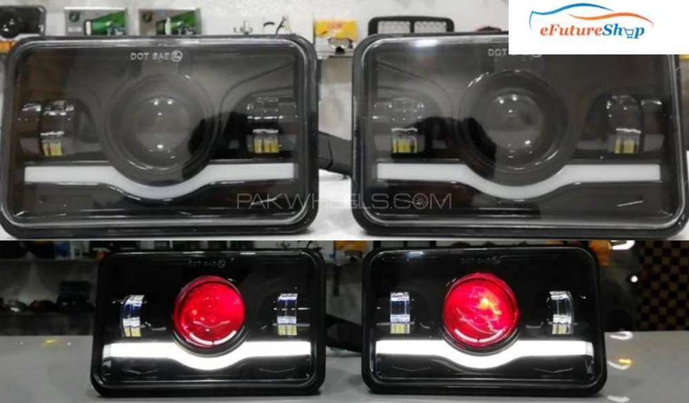 Universal Jeep / Car / Bike LED Headlight Square Image-1