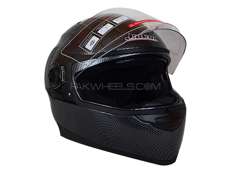 Jiekai Helmet 312 JK Carbon Double Visor Full Face - Black Large Size 58 cm in Karachi
