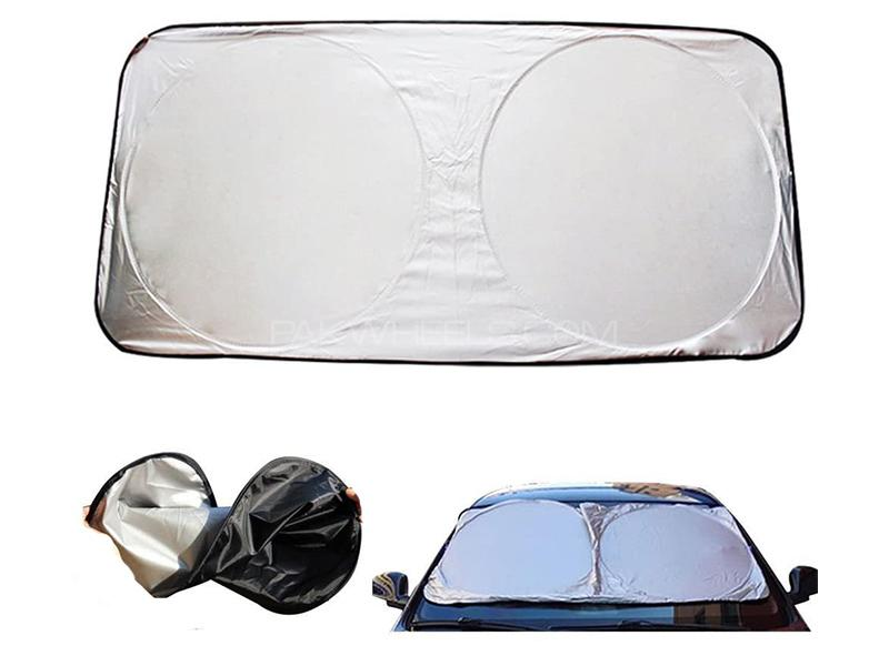 Universal Front Wind Screen Sun Shade - Silver Image-1