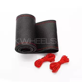 Black Genuine PU Leather Breathable Hand Sewing Car Steering wheel Cover with Red Thread Image-1