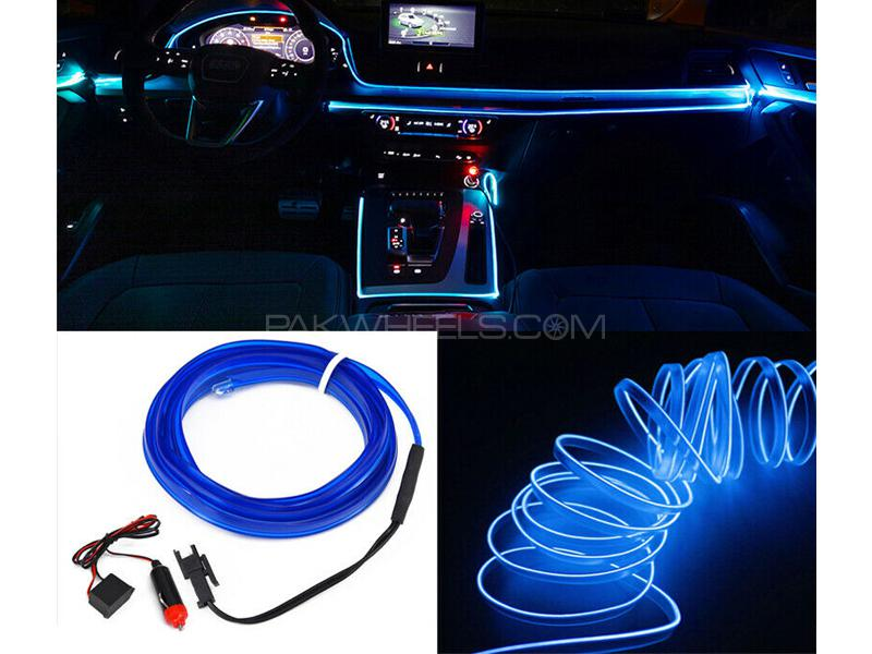 Car Interior EL Glow Neon Wire Blue 2m Image-1