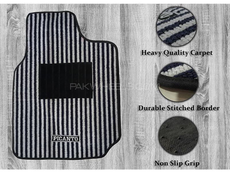 Kia Picanto 2019-2021 Genuine Shape High Quality Carpet Mats - Black And Grey in Karachi
