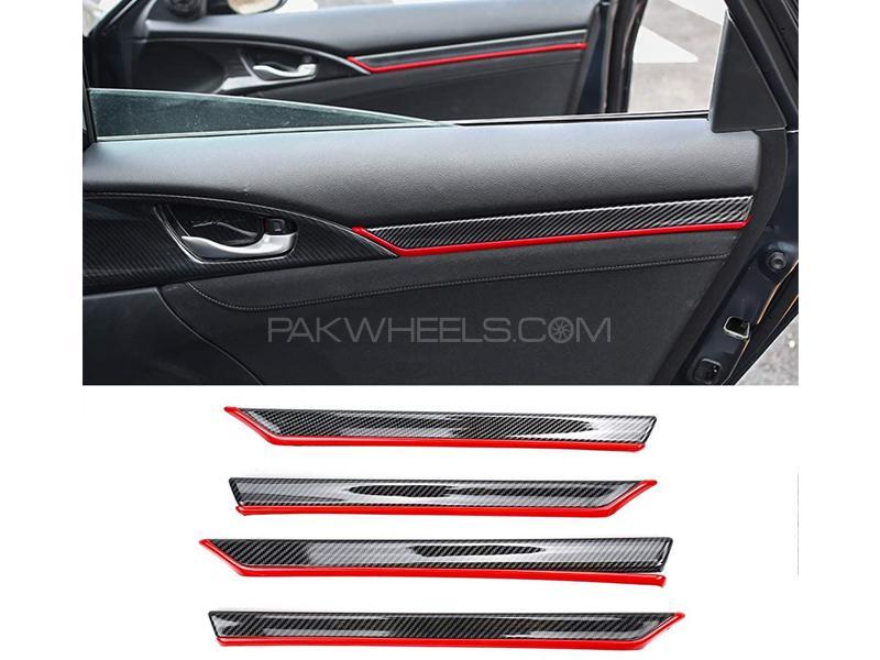 Honda Civic 2016-2021 Red Carbon Door Trims Set in Lahore